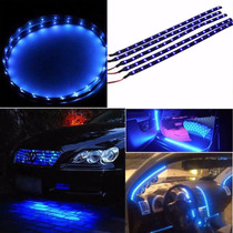 Fita Tira Led Azul Adesivo Tuning Carro Moto Flexivel 30cm
