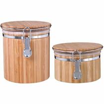 Conjunto Porta Mantimentos Em Bambu 2 Peças Ecologico