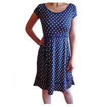 Vestido Azul De Modal Estampado Con Lunares