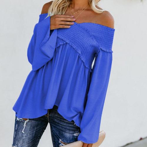 61ed34796 Moda Mujeres Blusa De Slash Cuello Apagado Hombro Llamarada -   344.83 en  Mercado Libre