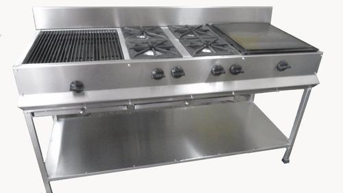 Estufa industrial con asador 4 quemadores y plancha for Estufa industrial precio