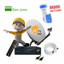 Kit Receptor Oi Tv Livre Completo + Brinde Lnbf 4 Saídas Hd