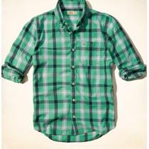 Hollister Camisa Xadrez Coleção Atual Tamanho G Verde
