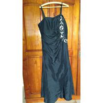 Vestido De Festa,preto,longo,com Bordado Prateado C/echarpe