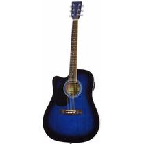 Guitarra Eléctrica Acústica Para Zurdos Azul