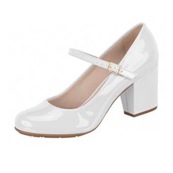 5a10a6144 Sapato Branco Feminino Boneca Salto Grosso Noiva Enfermagem - R  120 ...