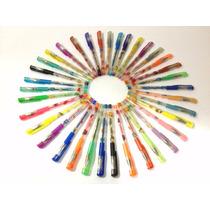 Caneta Gel Com Glitter 36 Cores Sortida Kit Completa Escolar