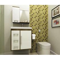 Gabinete Armário Para Banheiro Com Pia Roma Branco_avelã