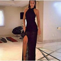 Vestido Longo Gola Tricô Com Fenda Festa Blogueira Promoção