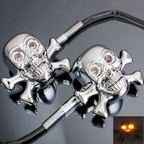 Pisca Universal Skull Caveira P/ Motos Custom/chopper/bobber