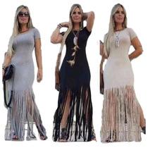 Roupas Femininas Vestido Longo Panicat Importado Franja 2016