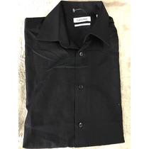Camisa Calvin Klein Slim Fit Negra Manga Larga