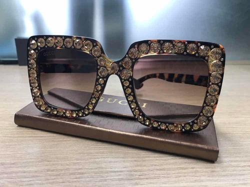 df6d089a23129 Óculos De Sol Gucci Strass Tartaruga - R  120,00 em Mercado Livre