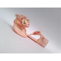 A299 Sandalinha De Croche Feminino Salmao Sandalia De Menina