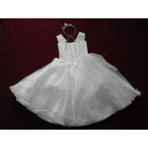 Nuevo Vestido Blanco Graduacion 4 - 5 Princesa Angel