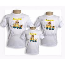 Kit Camisetas Minions Com 3 Blusas Personalizadas