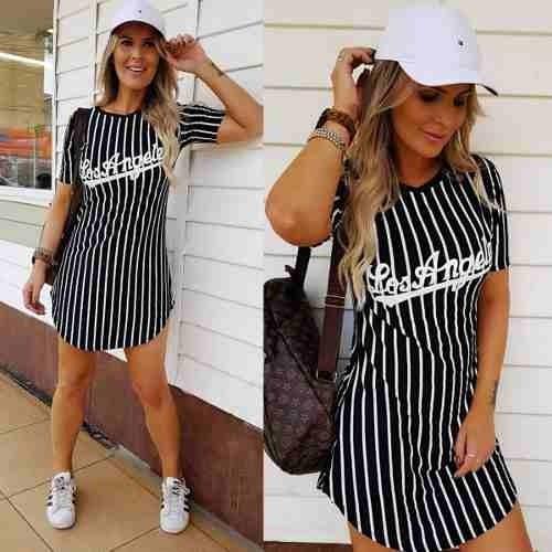 ac4823b54 Vestido Camisão Feminino Los Angeles Listrada - R  55