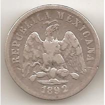 Mexico Republica, 10 Centavos, 1892 Mo M. Plata. Vf