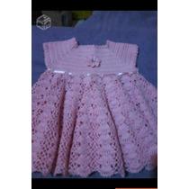Vestido De Croche Pra Bebê,infantil Rosa Detalhado,promoção
