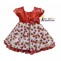Vestido De Festa Infantil - Moranguinho - Promoção!