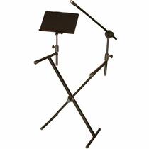 Suporte Apoio Em X Estante P/teclado+sup Microfone+partitura