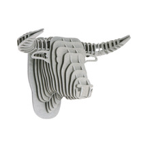 Toro Gris Cabeza Decorativa Animal Decoracion Valchromat8m
