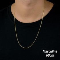 Cordão Corrente Masculina 3 X 1 60cm Em Ouro 18k-750
