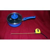 Caserola De Aluminio Con Tapa De Cristal 18cm, Color Azul
