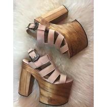 Sandalias Con Plataforma De Madera- Cuero- Diseño Exclusivo
