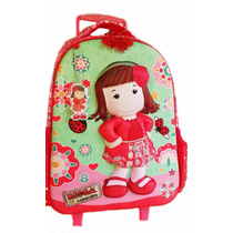 Mochila Rodinhas Infantil Menina Joaninha 3d Vermelha