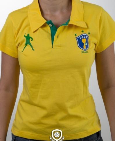 Camisa Polo Feminina Baby Look Brasil - R  45 ccd74143dd7bc