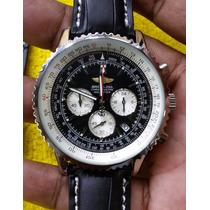 Relogio Aviador Classico Couro Preto Luxo(sedex Gratis)