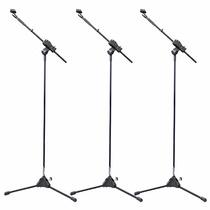 Kit 3 Pedestal Suporte Para Microfone Girafa Tripé Ibox Sml