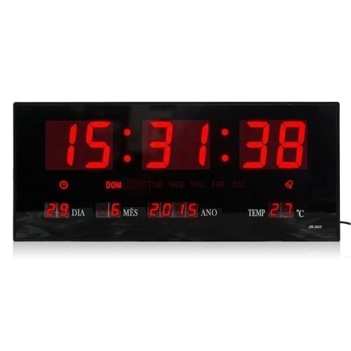 f16740804fe Relógio Parede Led Digital Gigante 46cm Data Termometro - R  119