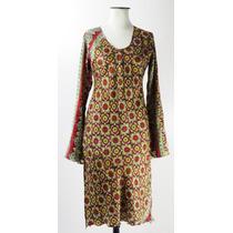 Mz-divino Vestido Seda Estampada Estilo Oriental-muy Bello