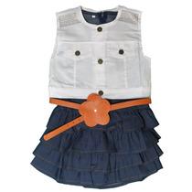 Vestido Jeans Regata Com Colete Branco E Cinto Infantil