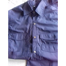 Camisa Tipo Columbia De Algodon Azul Marino Superoferta