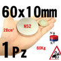 Xto Iman Neodimio 60mm X 10mm Super Potente N52