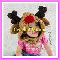Capucha Tejida A Crochet Venadito Navidad