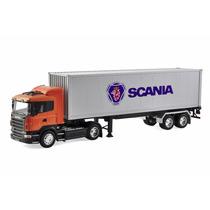 Caminhão Scania R470 Laranja 1:32 Welly Com Carreta