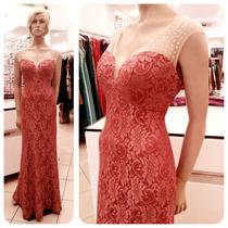 Vestido De Festa Longo Renda Tule Brilho Coral+2cores 1863