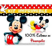 Kit Imprimible Mickey Mouse, 100% Editable En Powerpoint 2x1