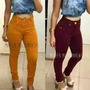 Calça Cintura Alta Caramelo Roxa Colorida Hotpants Marrom