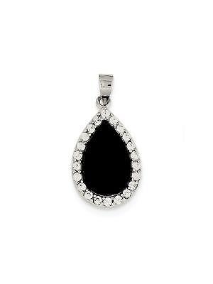 470398c861e9 925 St. Silver Onyx White Cubic Zirconia Teardrop Halo Char ...