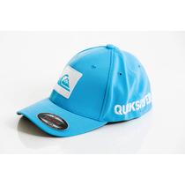 Boné De Marca Quiksilver Azul Letreiro Flexfit Frete Grátis