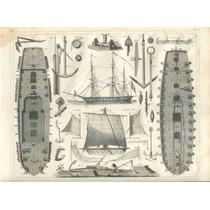 Lienzo Tela Barco De Guerra Cubiertas Año 1850 Poster Planos