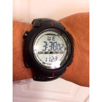 Relógio Atlantis Mod 7330g Preto Borracha Resistente Agua