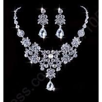 Collar Y Aretes De Plata 925 Con Cristales Austriacos