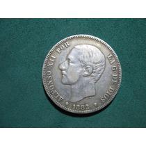 Moneda 2 Dos Pesetas 1882, España Km# 678.2 De Plata