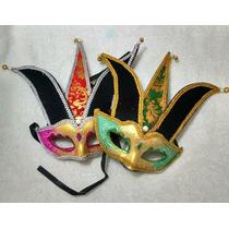 Kit Com 10 Mascara Veneza Bobo Da Corte Com Pena